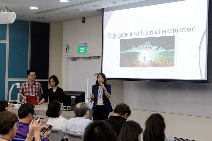 A group presents their game The Rehab at the opening ceremony of the Serious Games Conference 2015 on August 12, 2015.