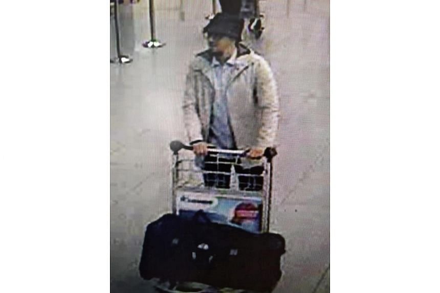 A CCTV grab of a suspect in the Zaventem airport attack in Brussels on March 22, 2016.