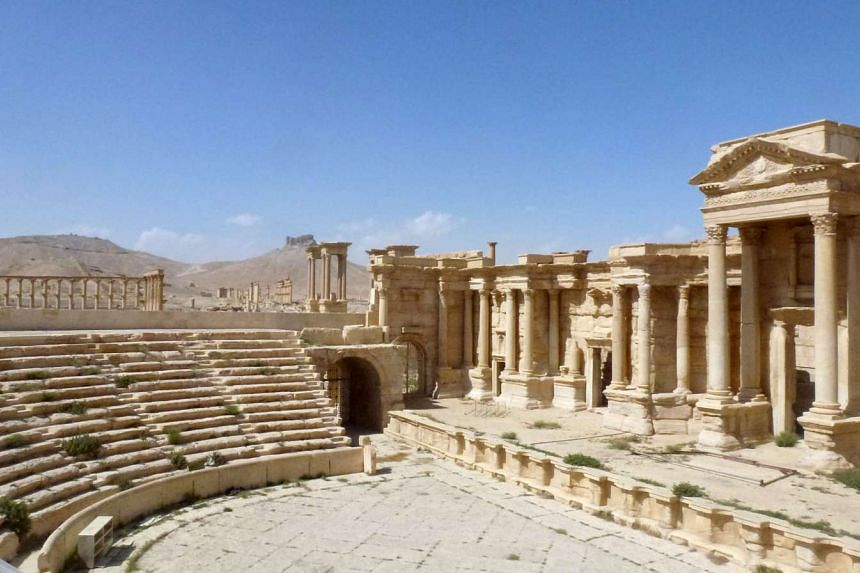 The theatre in the ancient Syrian city of Palmyra, shown after government troops recaptured the city from ISIS.