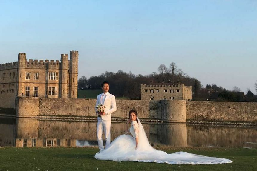 Tavia Yeung and Him Law at Leeds Castle, England, where they got married last Tuesday.