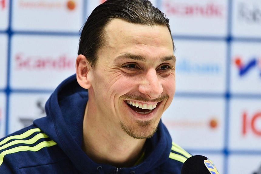 Swedish national football player Zlatan Ibrahimovic at a press conference in Stockholm, Sweden, on March 27, 2016.
