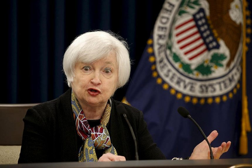 US Federal Reserve Chair Janet Yellen holding a press conference following the Federal Open Market Committee (FOMC) policy meeting in Washington, on March 16, 2016.