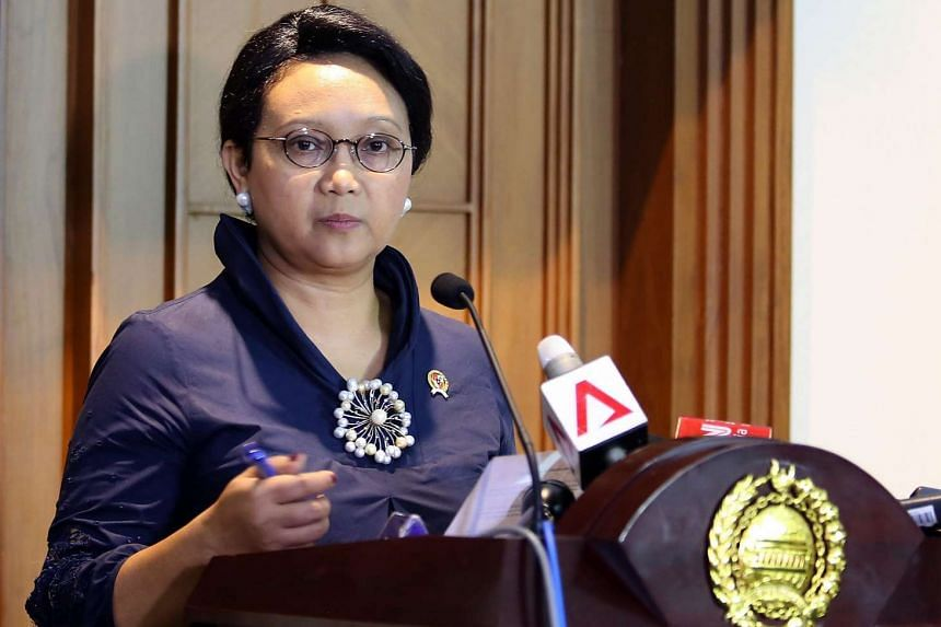Indonesian Foreign Minister Retno Marsudi delivering a statement in Jakarta, Indonesia on March 19, 2016.