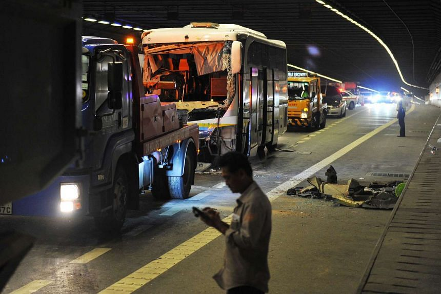 The bus involved in the accident inside a tunnel at the MCE.