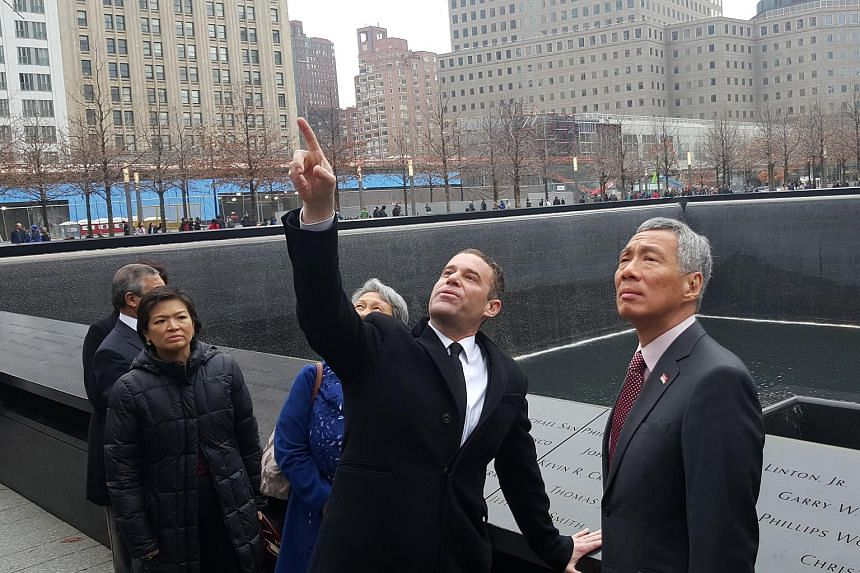 PM Lee Hsien Loong (right) visiting the memorial commemorating the Sept 11, 2001, terror attacks in New York on Monday (March 28).