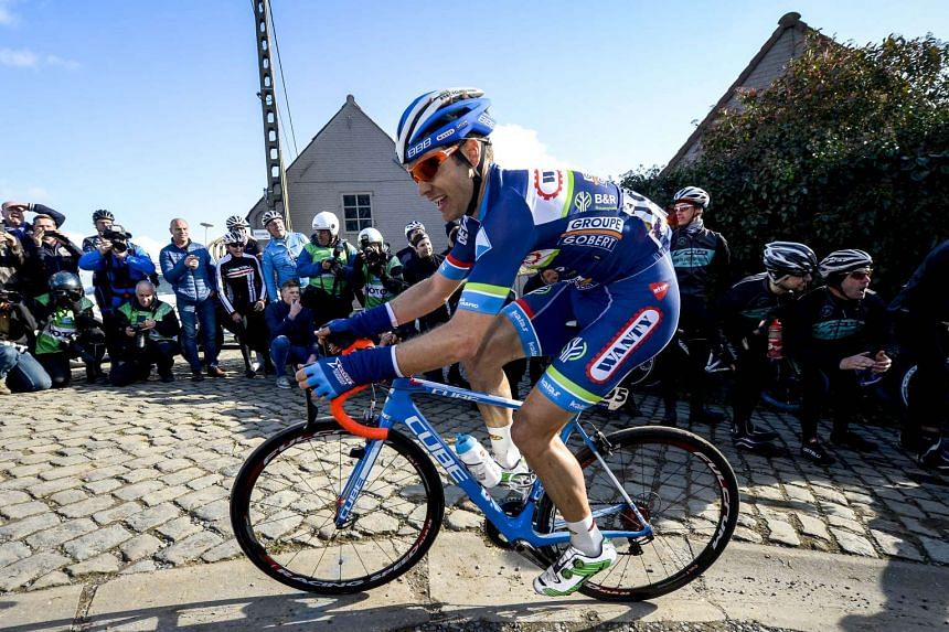 Belgium's Antoine Demoitie competes during the 59th edition of the E3 Prijs Vlaanderen Harelbeke cycling race on March 25, 2016.