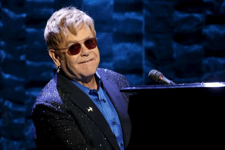 Singer Elton John performs at a benefit concert for US Democratic presidential candidate Hillary Clinton at Radio City Music Hall in New York City on March 2.