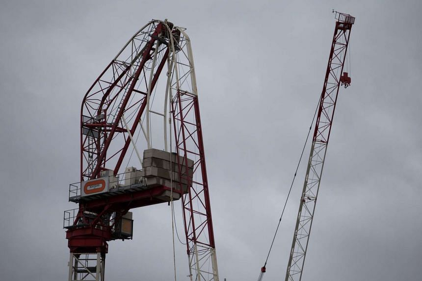 High winds bent a construction crane in half  in south London on Monday (March 28).