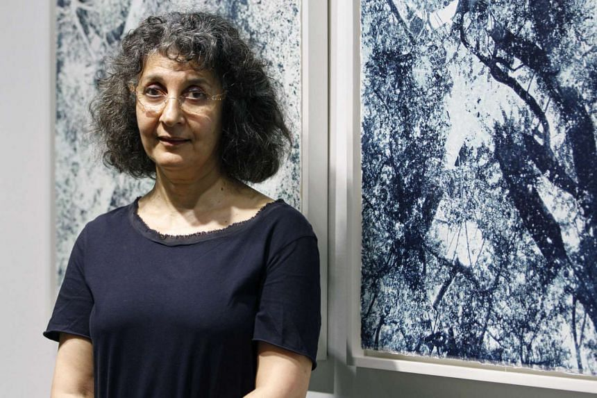 Shirazeh Houshiary with her work, Migrant No II, 2015, The River Is Within Us.