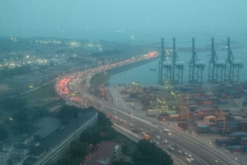 The jam on the Marina Coastal Expressway (MCE) at about 7.26pm on Tuesday (March 29) evening.