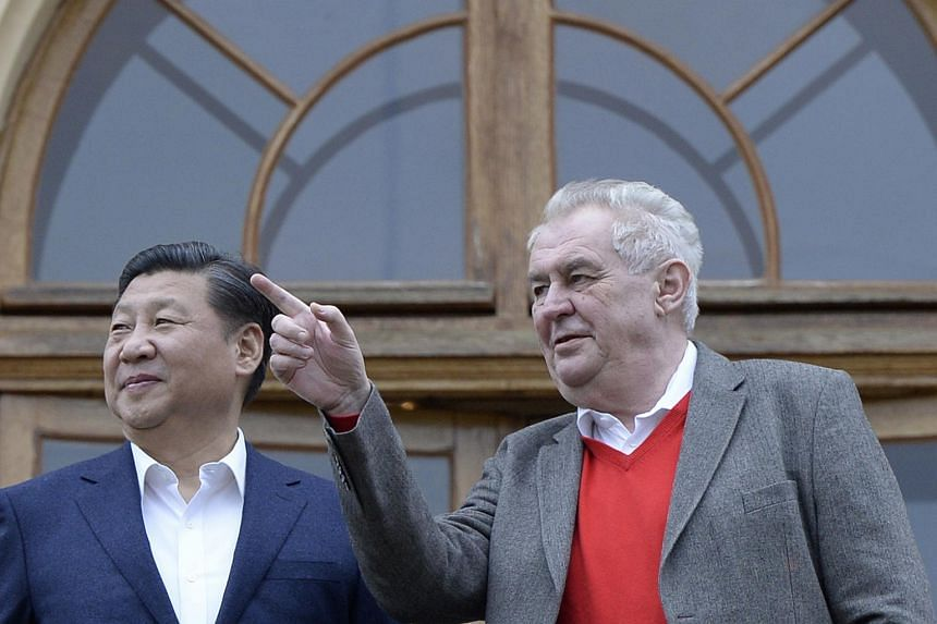 Chinese President Xi Jinping (left) and Czech President Milos Zeman at the Czech President's residence Lany Chateau near Prague, on March 28, 2016.