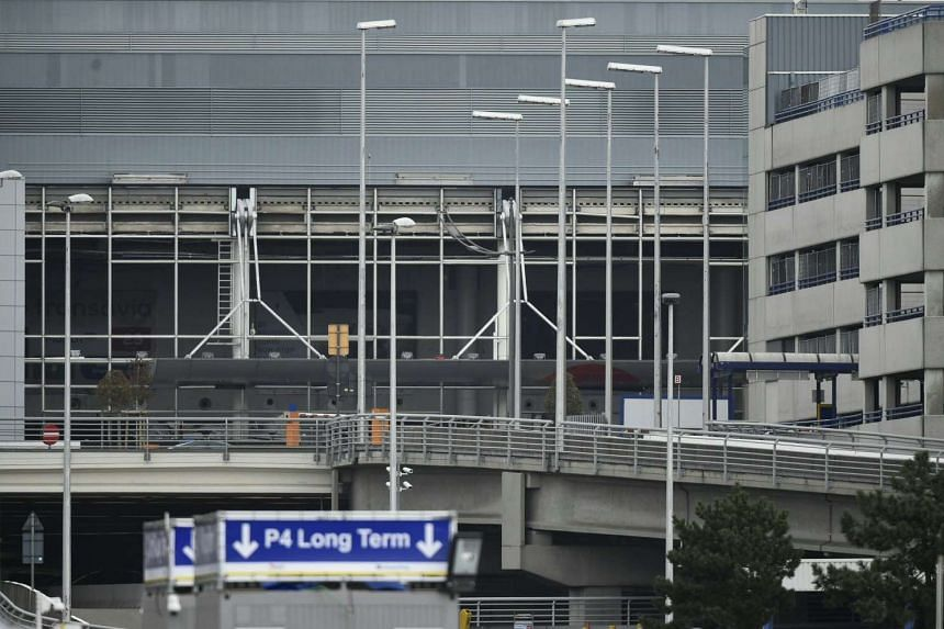 The facade of the departure hall of Brussels Airport in Zaventem in Zaventem on March 29, 2016.