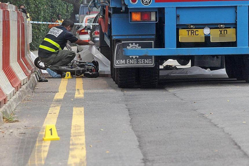 Retiree Chan Kuan Choon was on his way to meet his friends in Chinatown when he was hit by a truck in Lower Delta Road last October. Mr Chan, who was riding a motorised bicycle, died in the collision.