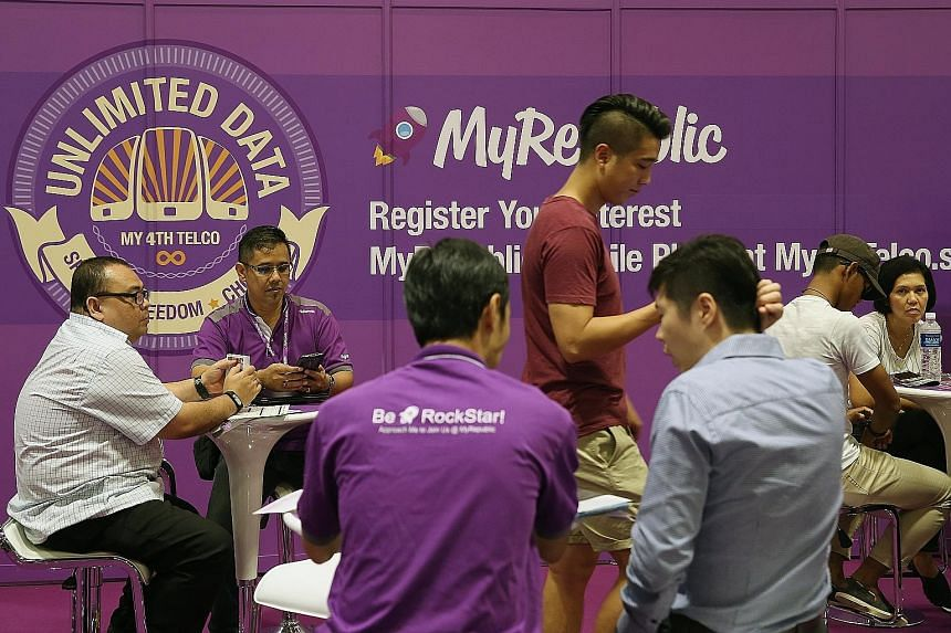 The MyRepublic booth at IT Show 2016. The fibre broadband service provider is one of two likely contenders for Singapore's fourth telco licence, the other being a unit of Consistel.