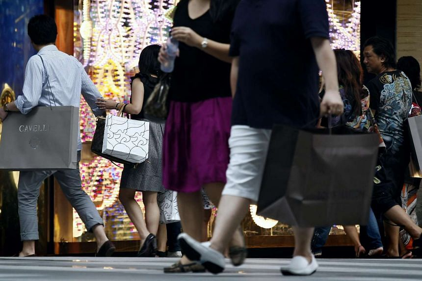 Shoppers in Orchard Road.