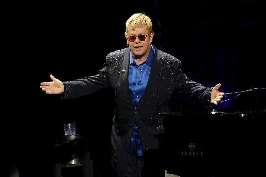 Singer Elton John performing at a benefit concert for US Democratic presidential candidate Hillary Clinton in New York on March 2.