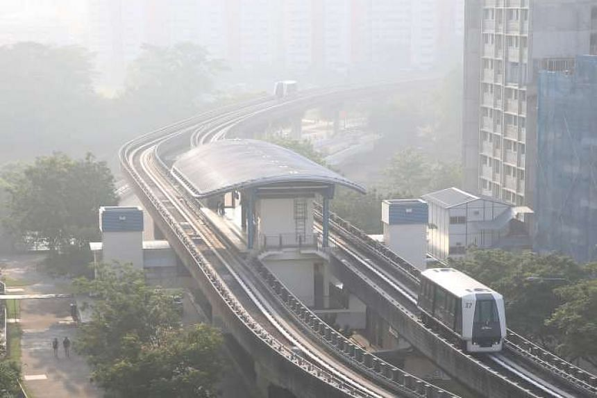 The view at Sengkang West at around 8.30am on Wednesday (March 30).