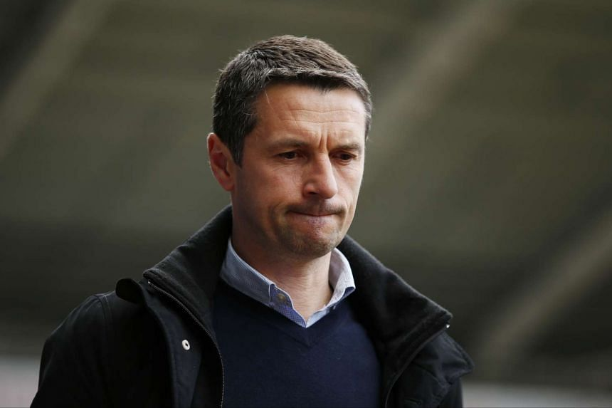 Aston Villa manager Remi Garde arrives at the stadium during the Barclays Premier League football match between Swansea City and Aston Villa.