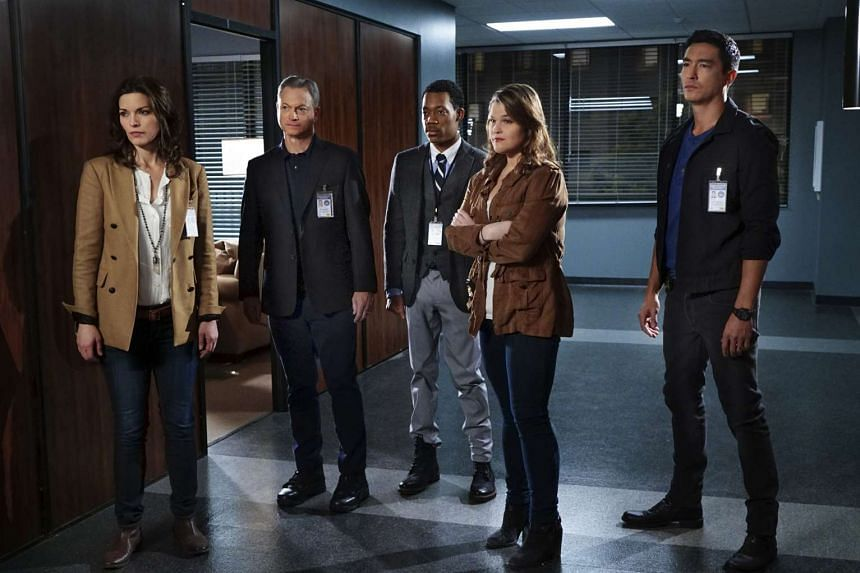 The cast of Criminal Minds: Beyond Borders (from left) Alana De La Garza, Gary Sinise, Tyler James Williams, Annie Funke and Daniel Henney.