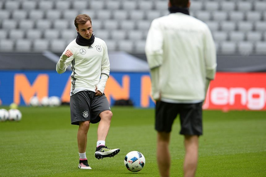 Mario Goetze during a training session with the German national team at the Allianz Arena in Munich, ahead of their friendly match against Italy early this morning (Singapore time).