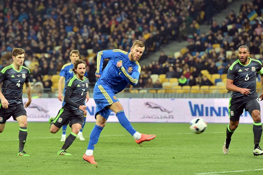 Ukraine forward Andriy Yarmolenko swivels and shoots to score the only goal in the friendly between Ukraine and Wales in Kiev. It was the fourth time the Welsh defence had conceded a goal from a set piece in their past six matches.