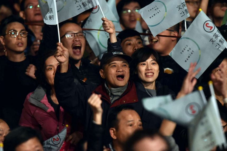 Supporters of Ms Tsai Ing-wen celebrating her election win in Taipei on Jan 16.