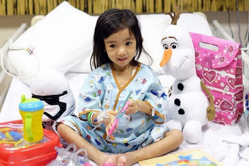 Three-year-old Caitlin Soleil Lucas at National University Hospital earlier this year.