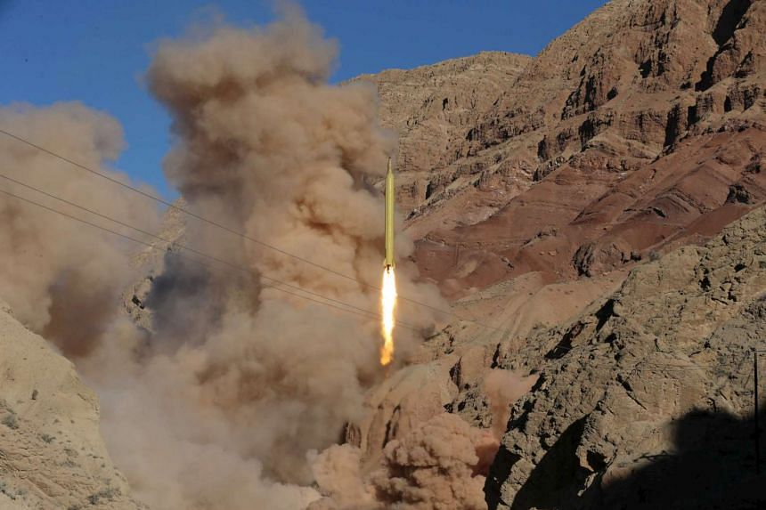A ballistic missile that was launched and tested in an undisclosed location, in Iran, on March 9, 2016.
