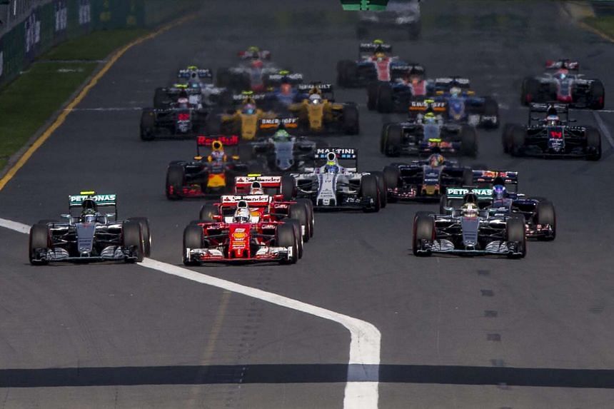 The pack in action during the Australian Formula One Grand Prix at the Albert Park circuit in Melbourne.