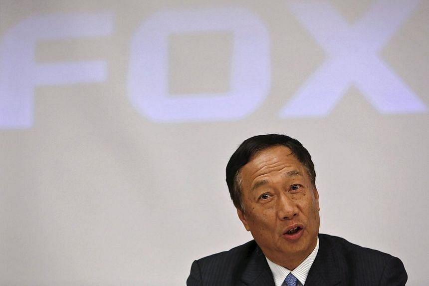 Founder and chairman of Taiwan's Foxconn Technology Terry Gou at a news conference in New Delhi, India, on Aug 4, 2015.