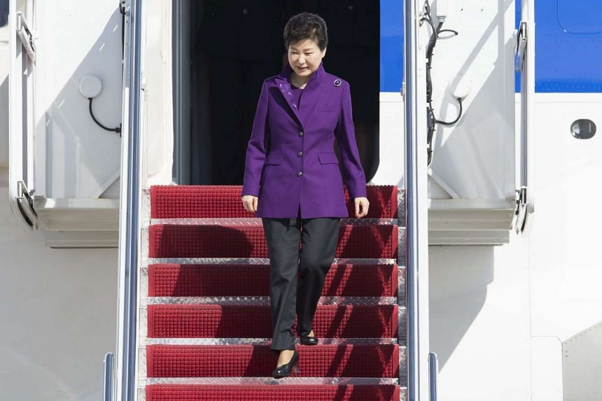 South Korea's President Park Geun-hye, arrives at Joint Base Andrews, Maryland, on March 30, 2016.