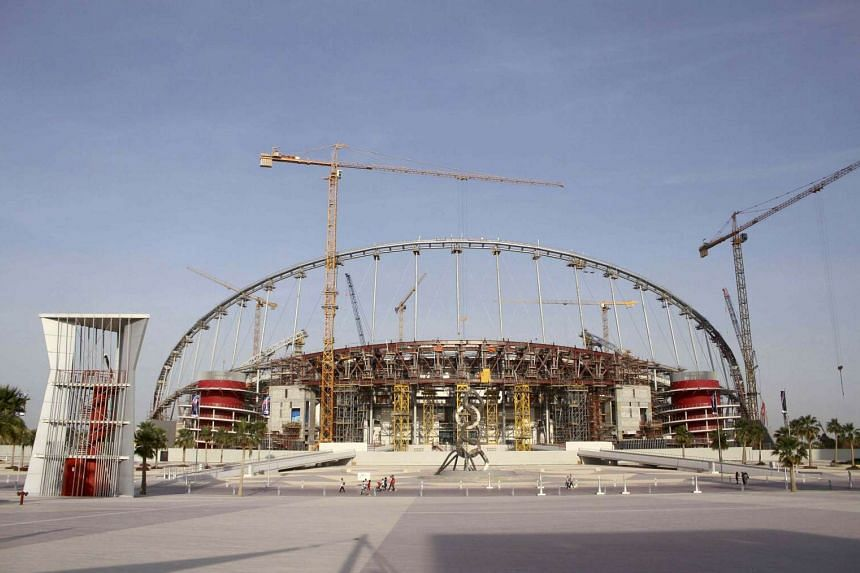 A view of the construction work at the Khalifa International Stadium in Doha, Qatar.