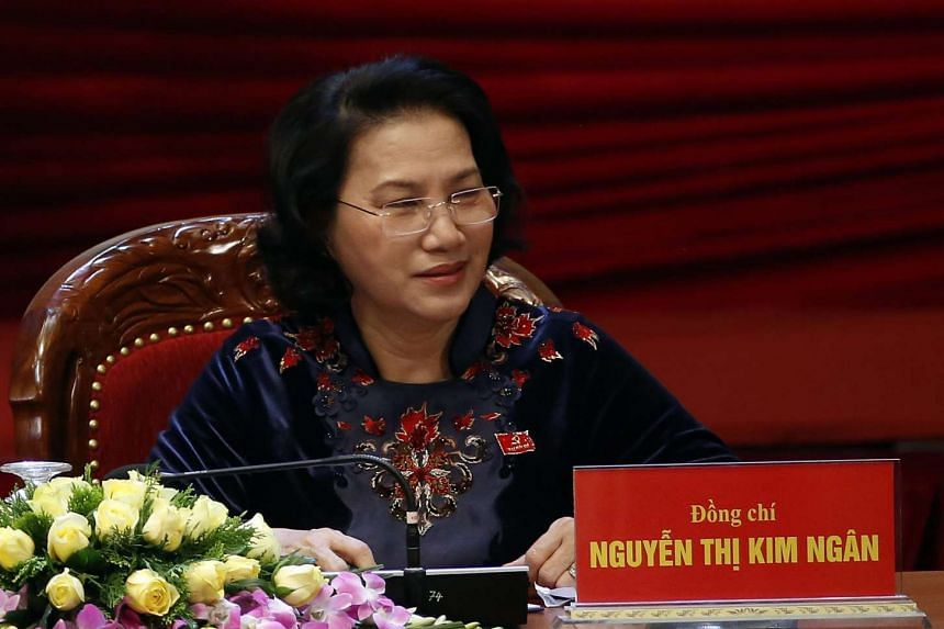 Nguyen Thi Kim Ngan during the sixth day of the 12th National Congress of Vietnam's Communist Party (VCP), in Hanoi.