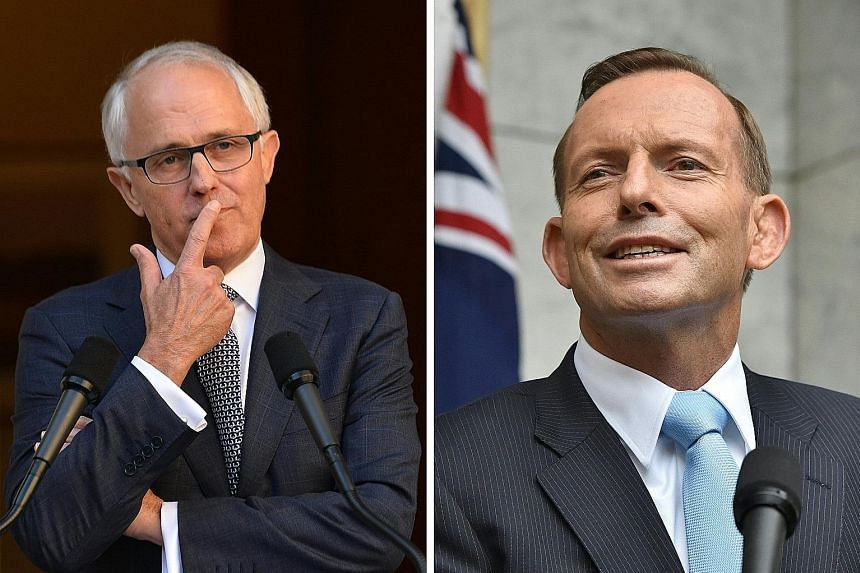 Some observers have suggested that Mr Turnbull (top) offer his rival, Mr Abbott (above), a senior job to neutralise him before the elections.