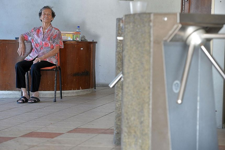 Madam Jung lives and works at Rochor Centre. But her days of earning $60 daily are over as fewer people visit the complex - she takes home just $6 a day now.