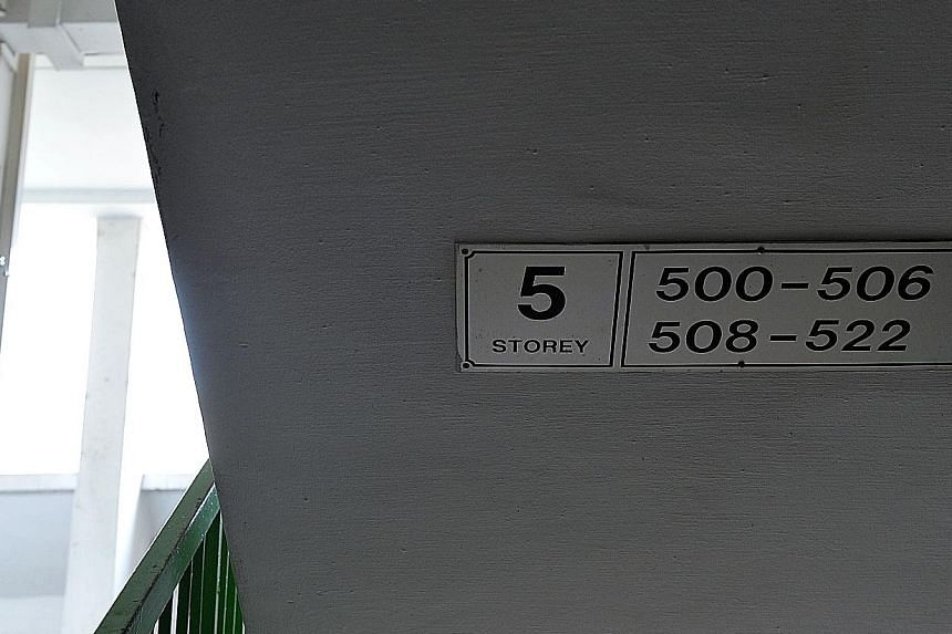 The unit numbers of flats in Rochor Centre are placed underneath staircases, instead of on the walls like in other estates.