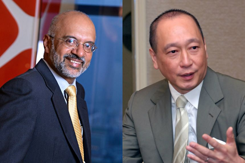 DBS Group's Piyush Gupta (left) took home the largest sum among the local banks' heads. Total pay for UOB's Wee Ee Cheong (right) last year was $9.22 million, down from $10.22 million in 2014.