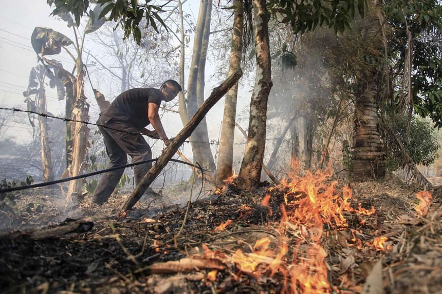 A Thai official extinguishing wildfires causing the haze in the region at a forest in Tak province, northern Thailand.