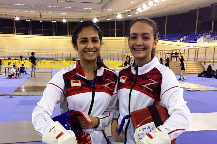 National fencers and sisters Aarya (left) and Amita Berthier will be representing Singapore at the Fencing Cadet and Junior World Championships in Bourges, France this week.
