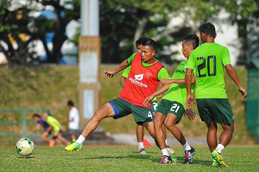 Geylang captain Isa Halim leading the way during training, ahead of the big S-League clash against Warriors FC tomorrow. The former Lion has put his injury problems behind him and is aiming to impress the new national coach who takes over from the outgoin
