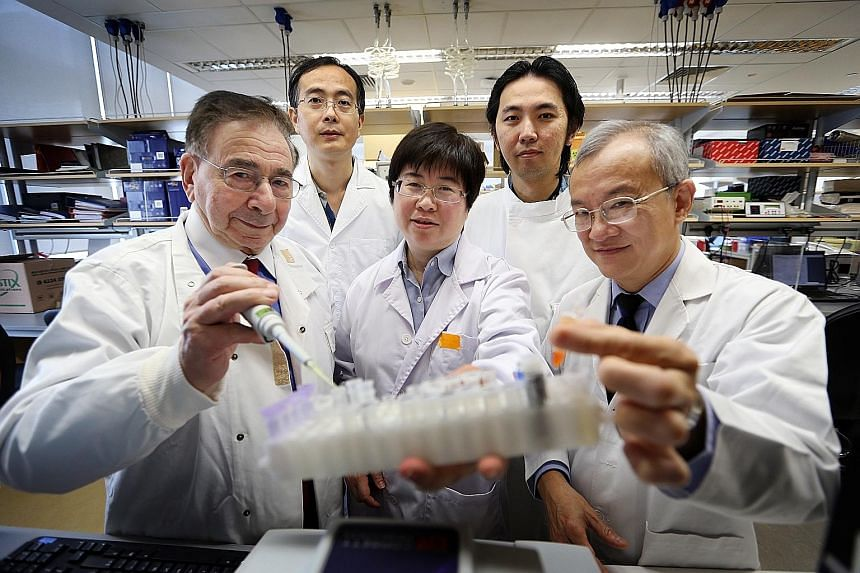 The team behind the research include (front row, from left) Sir Roy, Dr Gan Shu Uin and Professor Lee Kok Onn; (back row, from left) Dr Fu Zhen Ying and Dr Sia Kian Chuan. They have so far received around $3 million in grants for the project from the