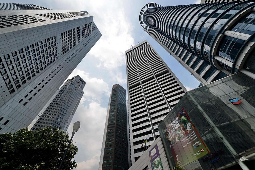 A general view of the Raffles Place financial district in Singapore on March 31, 2016.