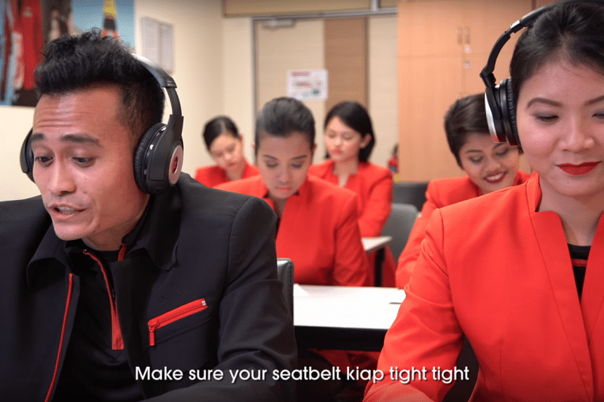 JetStar Asia staff communicating with customers in Singlish.