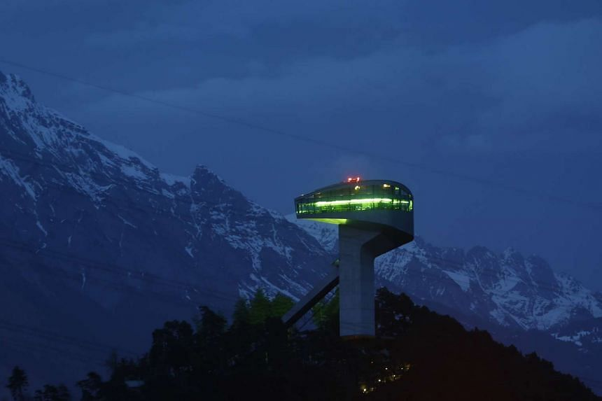 A long time exposure shows the ski jumping hill designed by Iraqi-British architect Zaha Hadid in Innsbruck, Austria.