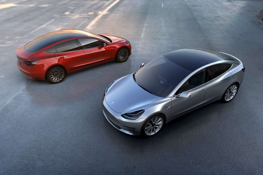 Tesla Motors' mass-market Model 3 electric cars are seen in this handout picture from Tesla Motors, on March 31, 2016.
