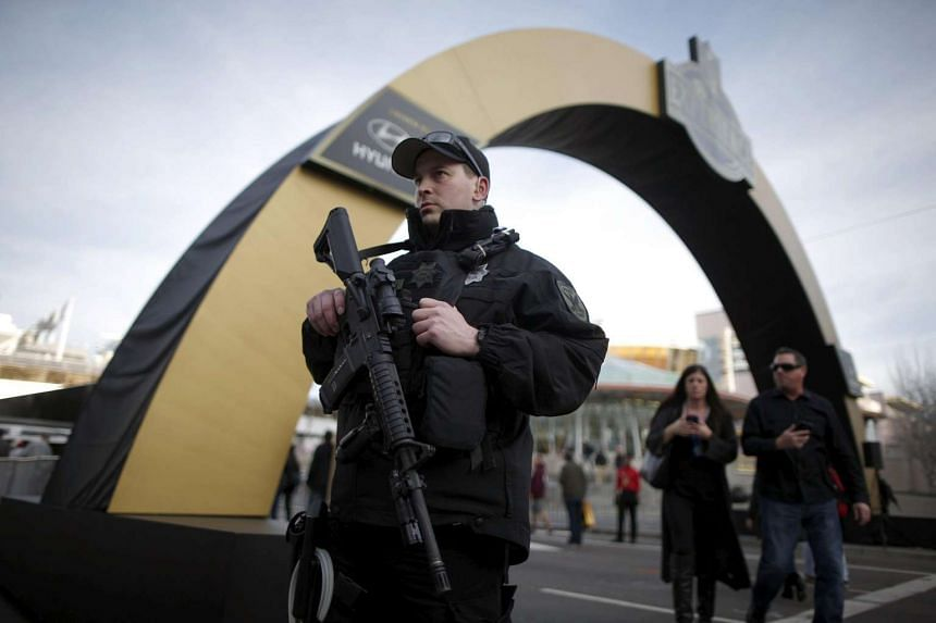 A police officer patrolling downtown San Francisco on Feb 4.