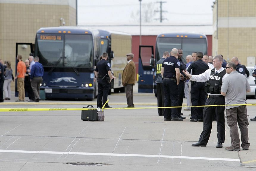 Police securing the scene of a shooting at a Greyhound bus station in Richmond, Virginia, on March 31, 2016.