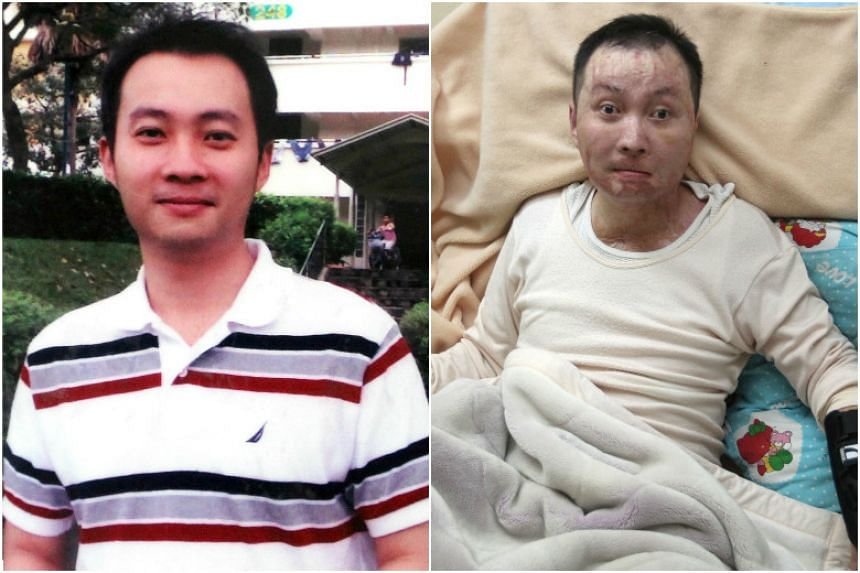 (Left) Mr Tan Yun Yeow before the accident. (Right) He is now wheelchair-bound and unable to speak.