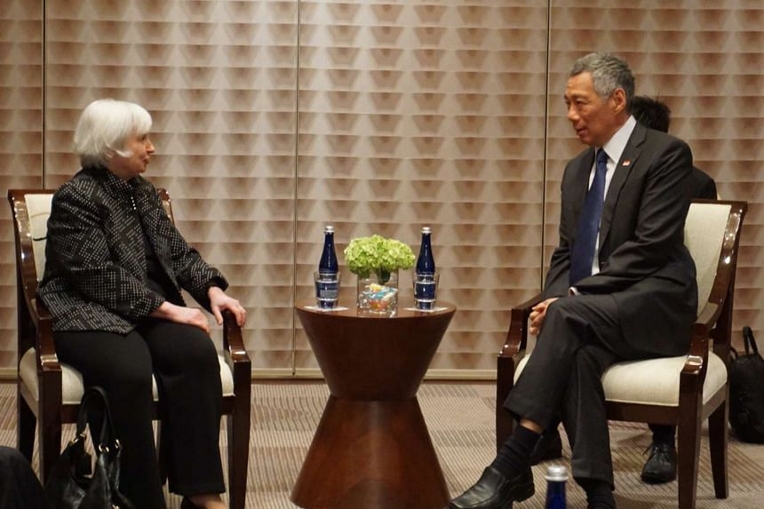 Prime Minister Lee Hsien Loong meets US Federal Reserve Chair Janet Yellen in Washington on March 31, 2016.