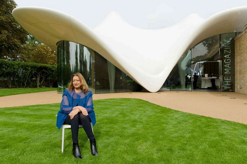 Iraqi-British architect Zaha Hadid outside one of her works, the Serpentine Sackler Gallery in London's Kensington Gardens.